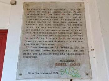 Placa no antigo cárcere