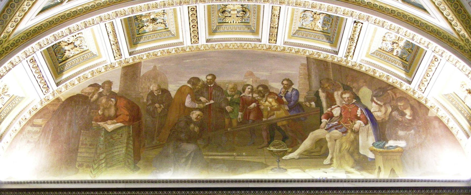 Galileo_mentre_dimostra_la_legge_di_caduta_dei_gravi_(Giuseppe_Bezzuoli)