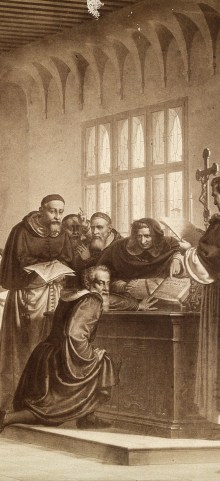 V0018717 Galileo Galilei at his trial Credit: Wellcome Library, London. Wellcome Images images@wellcome.ac.uk http://wellcomeimages.org Galileo Galilei at his trial by the Inquisition in Rome in 1633. Galileo pushes away the Bible. Published: - Copyrighted work available under Creative Commons Attribution only licence CC BY 4.0 http://creativecommons.org/licenses/by/4.0/