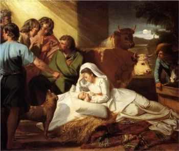 The Birth of Baby Jesus With Mary and the Shepherds