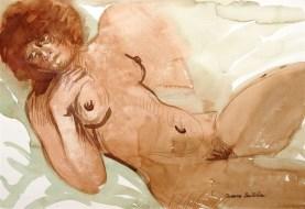 nudo, acquarello su carta cm 50x70