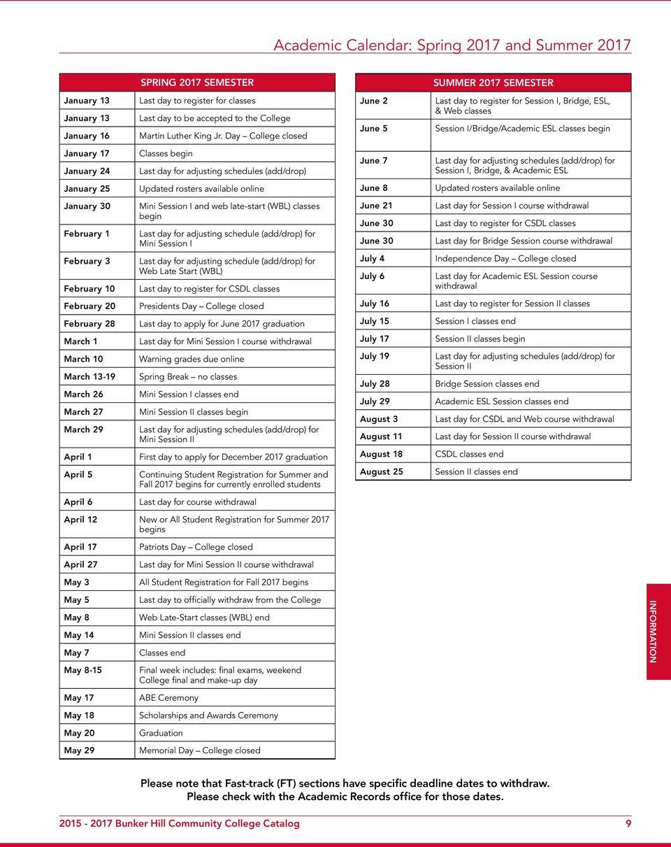Bunker Hill Community College Academic Calendar
