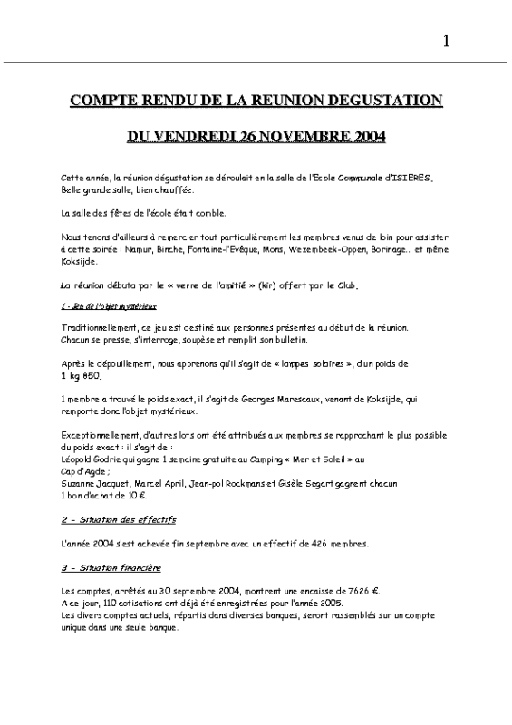 Réunion Dégustation – 26 novembre 2004
