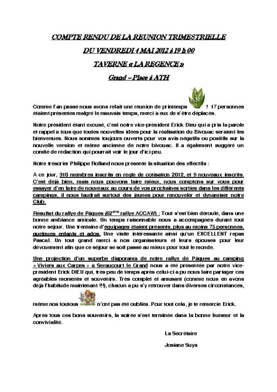 Réunion Trimestrielle – 4 mai 2012