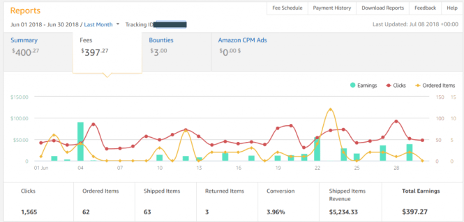 amazon affiliate site income report