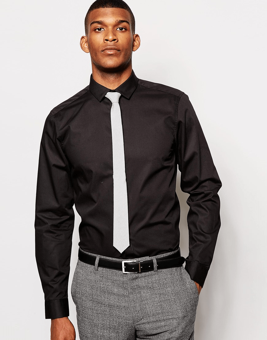 Black shirt and tie1