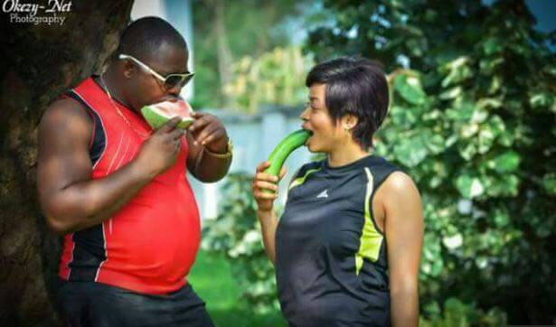 Errmm, what exactly do the fruits in their mouths mean? Under 18s please look away