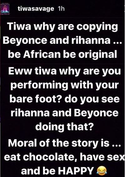 Tiwa Savage's reply