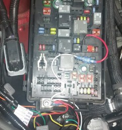 the external fuse box power source other red blue wire on the relay non fused wire goes to the factory fuse box power terminal and black is ground  [ 1365 x 768 Pixel ]