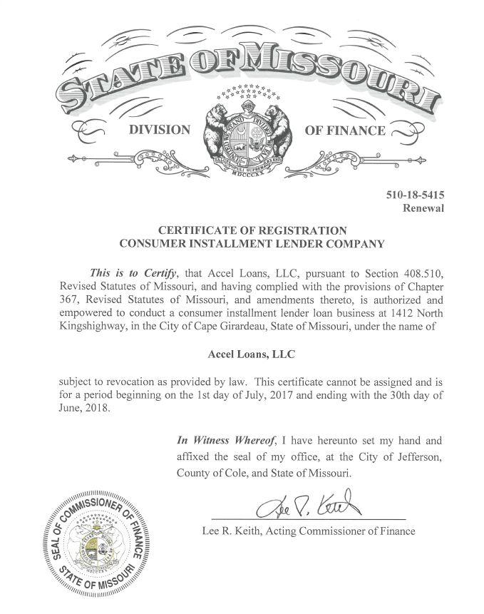 Accel Loans Cape Girardeau - Installment Loan License