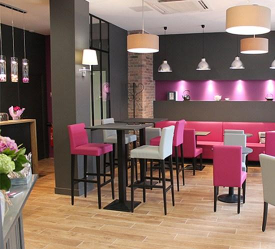 décoration bar rose et gris