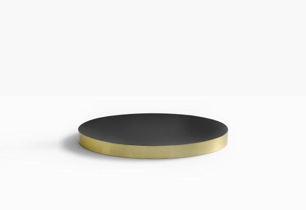 plateau de table noir mat chant laiton