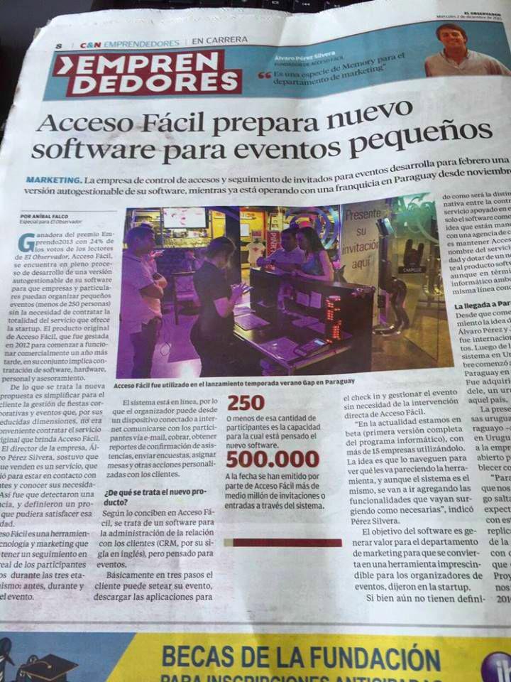 AccesoFácil prepara nuevo software para eventos pequeños. Diario El Observador, sección Café & Negocios.