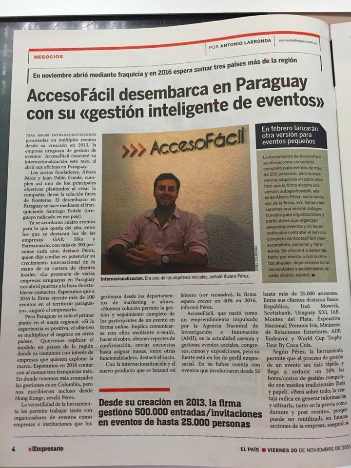 AccesoFácil llega a Paraguay con su gestión inteligente de eventos. Diario El País, suplemento El Empresario.