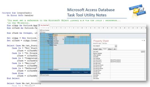 Microsoft Access Database Tutorial VBA Code Task Tool To Outlook