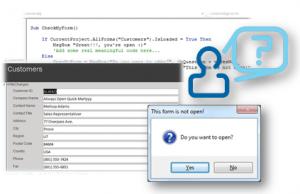 access forms vba code