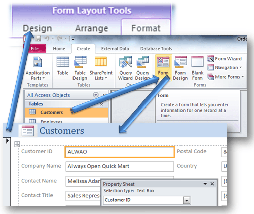 how to create a form in access 2010