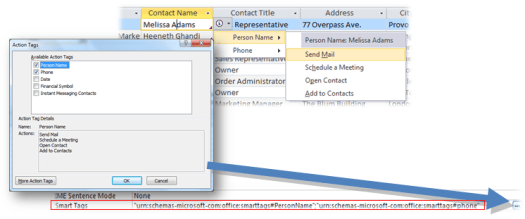 how to use smart tags in ms access 2010