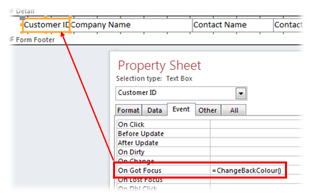 microsoft access database forms highlight current record control event