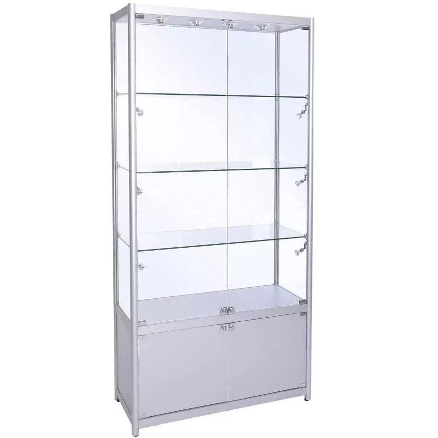 1000mm (w) Glass Display Cabinet with Storage