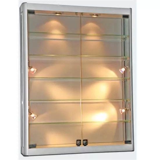1000mm wide x 1200mm high Wall Mount Glass Display Cabinet
