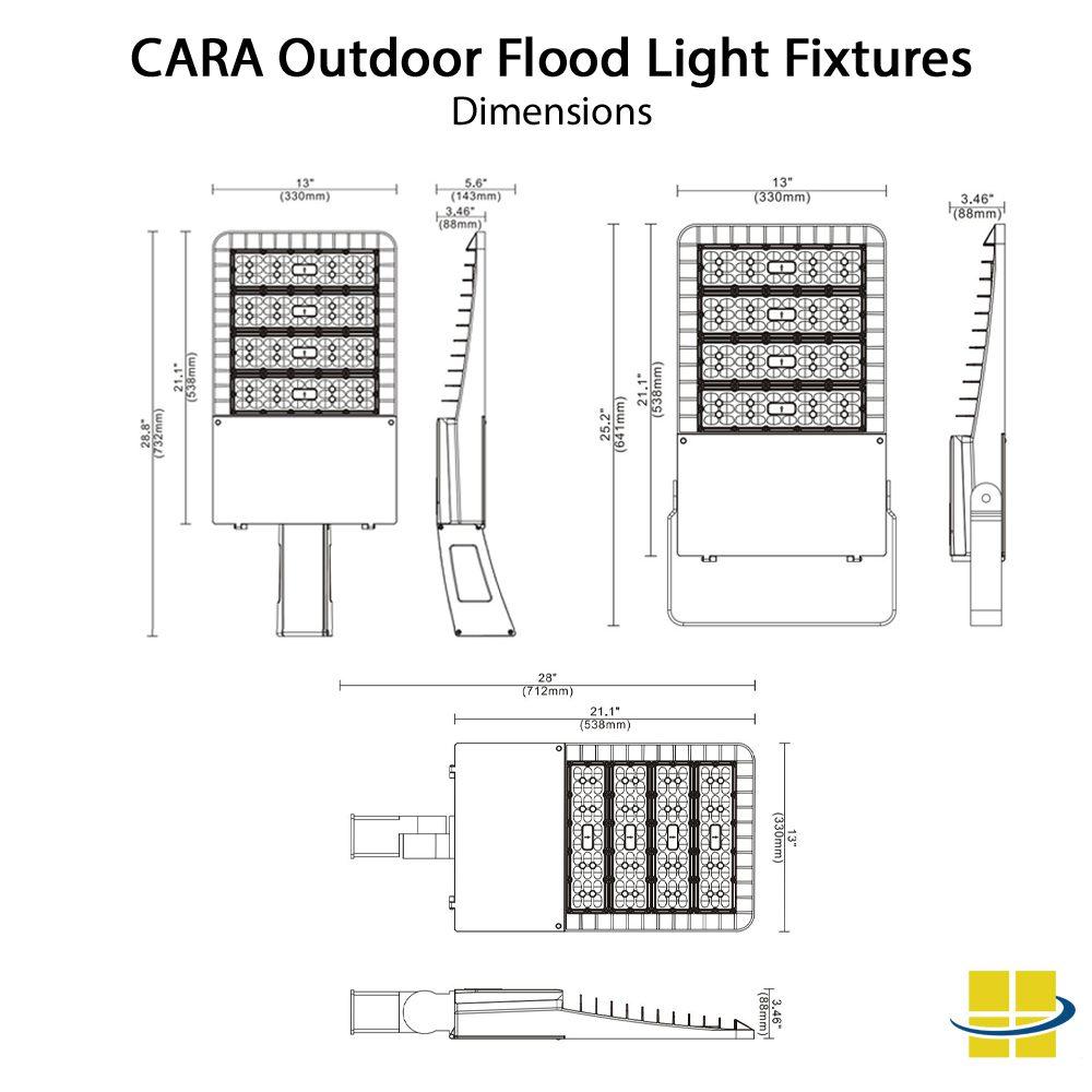220w Outdoor Flood Light Fixtures: Die-Cast, 3K/4K/5K