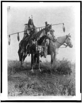 Village criers on horseback, Crow Indians