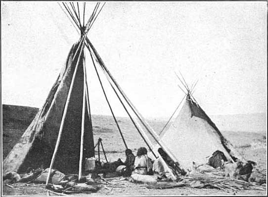 Crow camp at the old agency on the Yellowstone, near Shields River. Photograph by W. H. Jackson, 1871