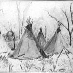 Horse camp of the Assiniboins, March 21, 1852 - Friedrich Kurz