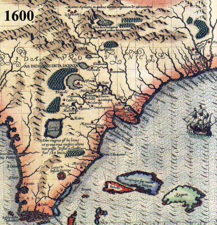 1600 Map of LaFlorida in Detail
