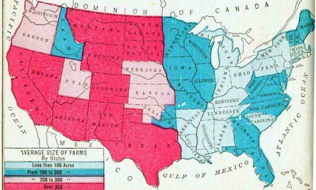 Map of the Average Size of Farms, by State, 1910