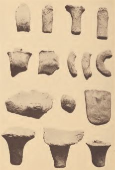 Fragments of pottery receptacle handles from the Pamunkey reservation
