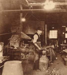 Edwin B. Macy at his Blacksmith Shop
