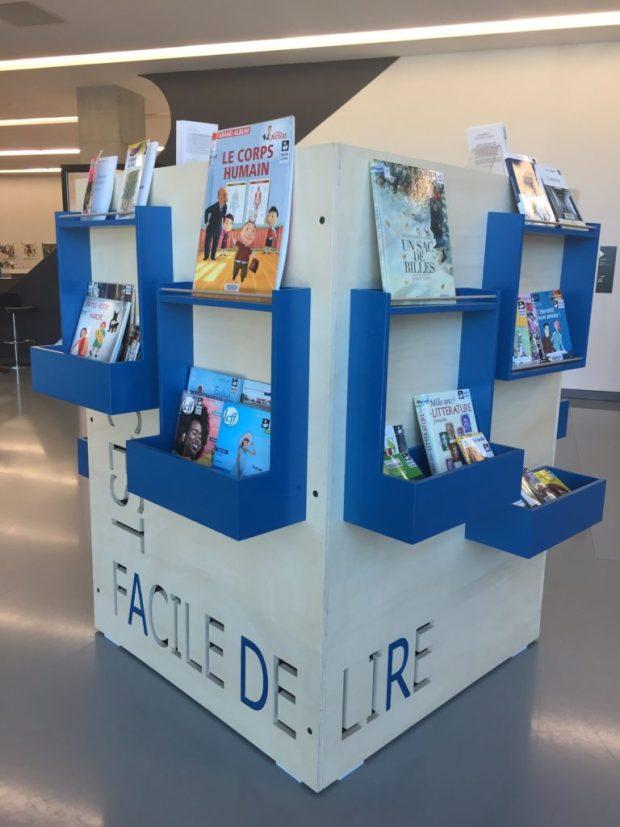 """Photo de l'espace """"Facile à lire"""" à la médiathèque de Pierresvives"""
