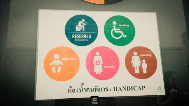 ภาพถ่ายป้ายเครื่องหมายคนพิการ เด็ก ผู้สูงอายุ คนท้องและเด็กอ่อน