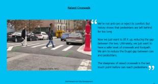 Picture People are walking across the raised crosswalk