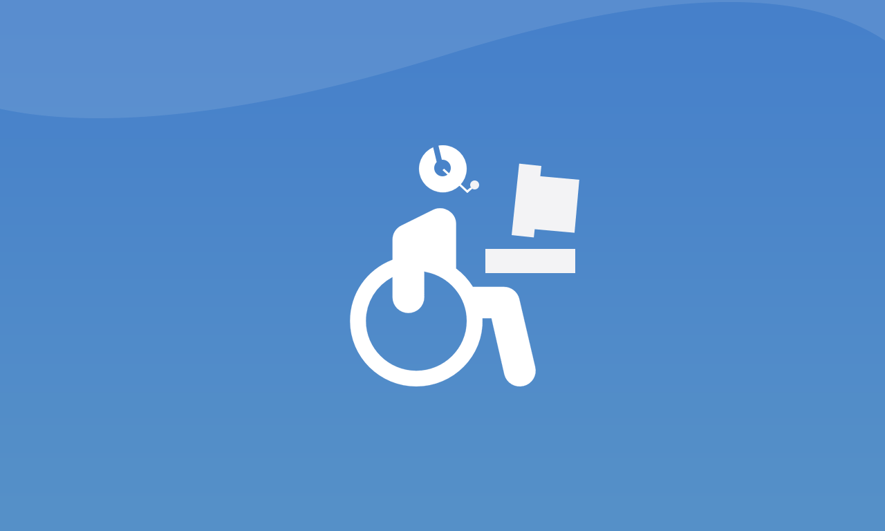 person in wheelchair at computer terminal wcag