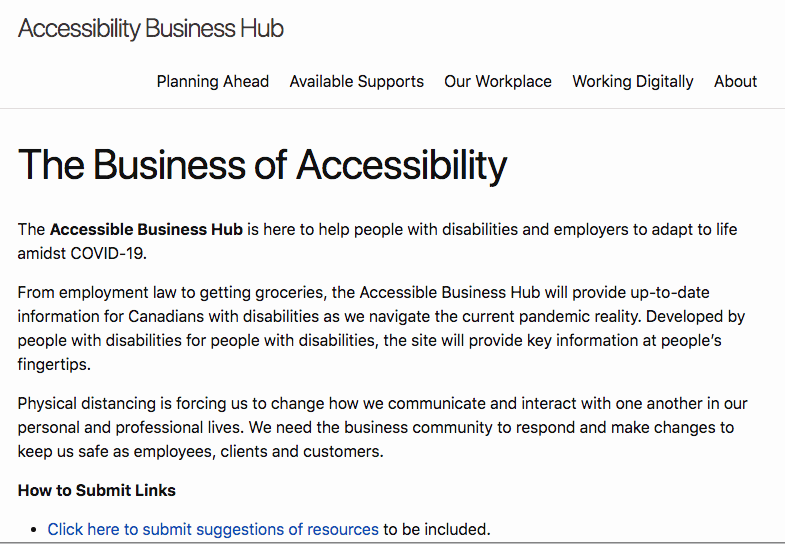 The Business of Accessibility website front page