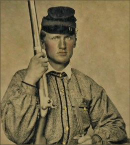 Private William Baxter Ott of Co. I, 4th Virginia Infantry Regiment, in uniform with musket