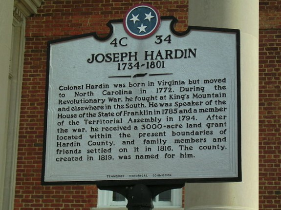 Joseph_Hardin_Courthouse_Plaque_Savannah_TN
