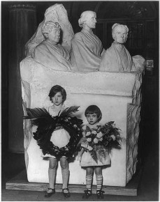 Peggy and Hope Anthony, descendants of Susan B. Anthony with wreath for the statue, Jan. 3, 1930