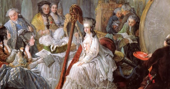 Marie Antoinette playing the harp at the French Court in 1777