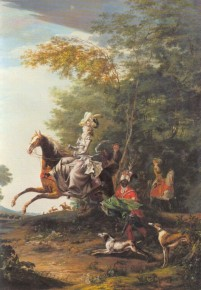 Queen Antoinette of France and her husband King Louis XVI. of France are chasing, 1783