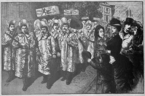 New Jersey.—The Humors Of The Political Campaign—Parade Of The Belva Lockwood Club Of The City Of Rahway. From A Sketch By A Staff Artist. Frank Leslie's Weekly, November 1, 1884