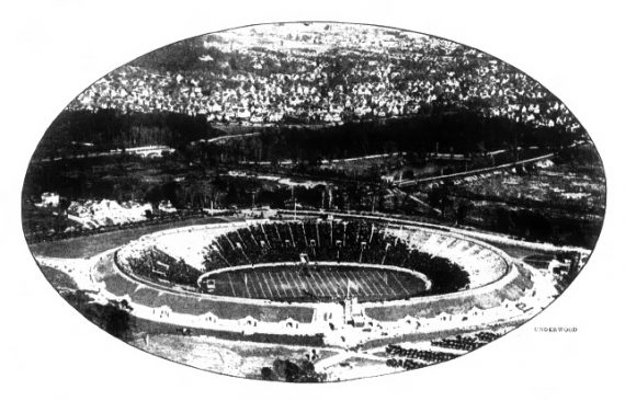 """October 21, 1921 - An airplane snapshot of the Yale """"Bowl"""" taken during a minor football game."""
