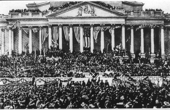 Presidential Theodore Roosevelt Delivering His Inaugural Address, March 4, 1905