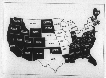 The white States are those which have already ratified the Federal Suffrage Amendment. Their women voters number 15,492,751.