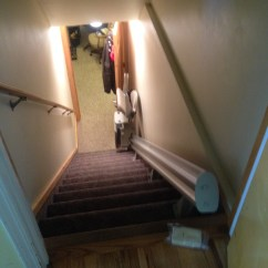 Stair Lift Chair Wheelchair Transport Service To Basement With Room For Door At Top In Clinton Utah Bruno Custom Curved Stairlift