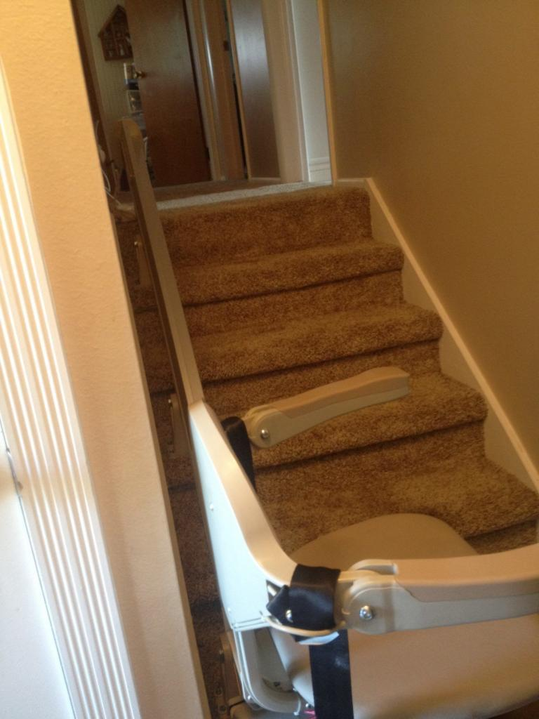 Chair Lift to Basement with Room for Door at Top in Clinton Utah  Accessible Systems