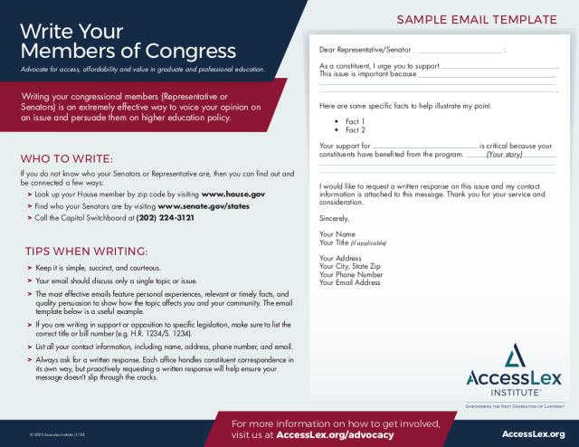 Write Your Congressional Member Letter Template  AccessLex